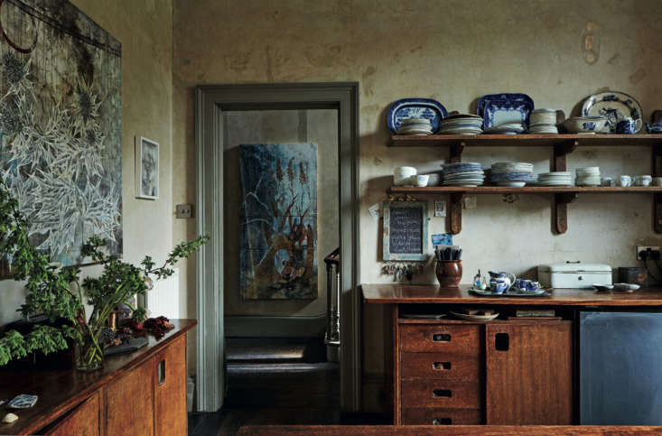 Required Reading An Artist Couples Hauntingly Beautiful Quarters Courtesy of Perfect English Townhouse The kitchen&#8\2\17;s cabinets were salvaged from the science department at the Camden School for Girls back when the family were living in London.