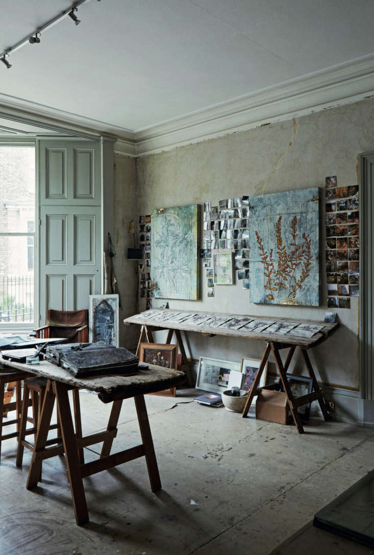 Required Reading An Artist Couples Hauntingly Beautiful Quarters Courtesy of Perfect English Townhouse David&#8\2\17;s studio is in the former reception room in the front of the house. Sawhorse tables serve as work and display surfaces. The photos pinned to the wall are of favorite artworks and glimpses of Greece, including the house they&#8\2\17;re bringing back to life.