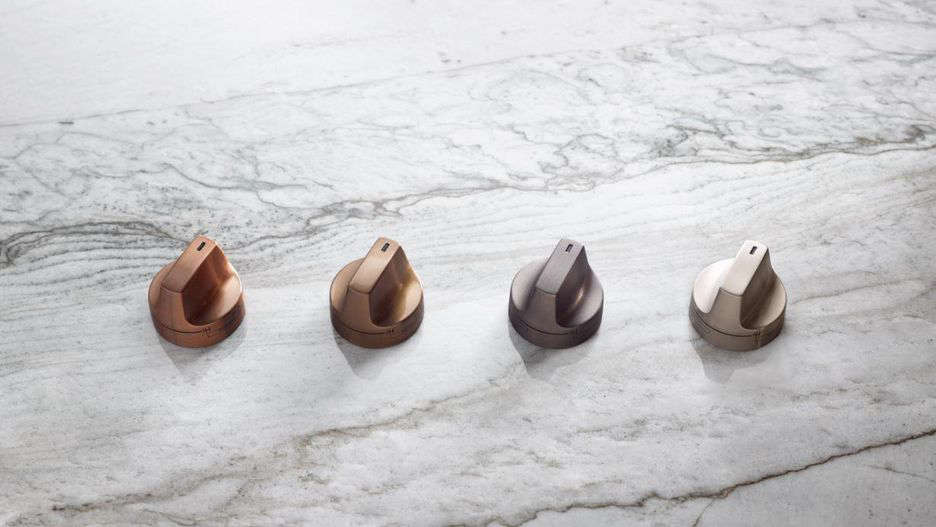 The Cafe Matte Collection is available with a choice of hardware (from L to R): Brushed Copper, Brushed Bronze, Brushed Black, and Brushed Stainless.