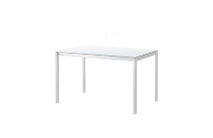 Steal This Look Parisian Oyster Party The Melltorp Table in white is \$69 from Ikea and is scratch resistant and easy to wipe down.