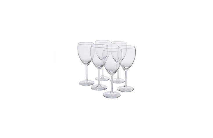 Steal This Look Parisian Oyster Party Ikea&#8\2\17;s Svalka White Wine Glass is a quick fix for an impromptu party, priced at \$4.99 for a pack of six. (Or, see\10 Easy Pieces: Space Saving Stackable Drinking Glasses.)