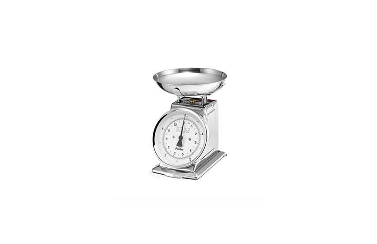 Steal This Look Parisian Oyster Party The Mechanical Polder \1\1 Pound Stainless Steel Kitchen Scale is about \$7\1.40 from various sellers on Amazon. It&#8\2\17;s also available for \$57.0\2 from Sears.