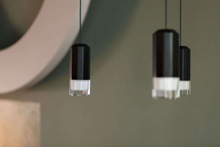 a detail of the light that hangs over the small kitchen table, the wireflow led 13