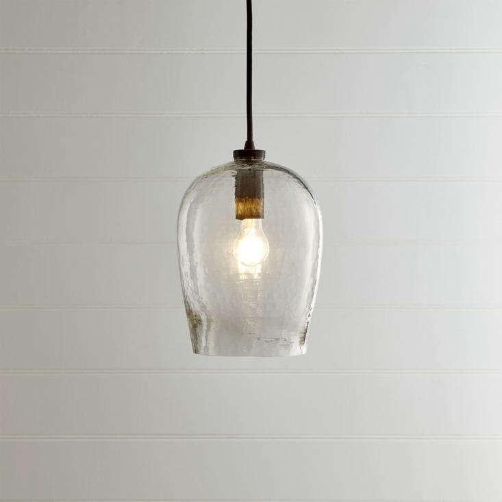 bell hammered glass pendant light crate barrel