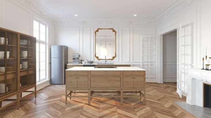 Coquo components fit with interiors of all styles, as seen in this traditional Parisian apartment, fitted with Volitare Armoires in oak (from $