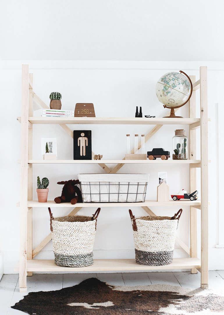 Manda and Caitlin describe their DIY Wood Bookshelf as &#8