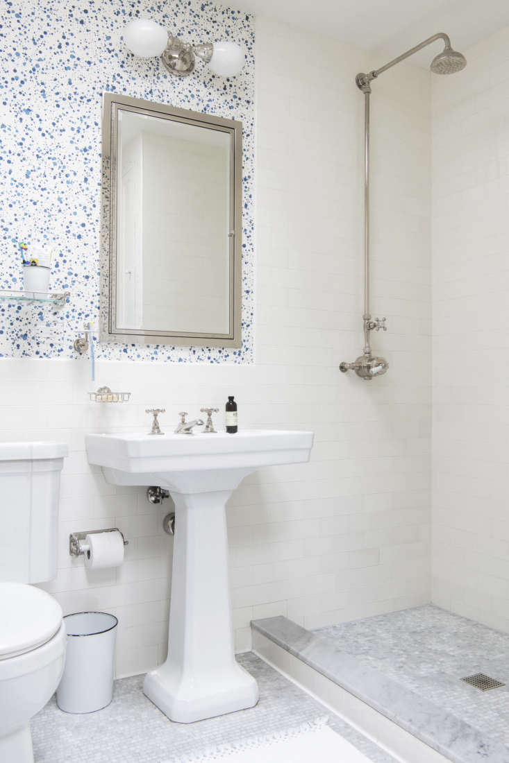 spatter wallpaper in another children&#8\2\17;s bath. the framed medicine c 33