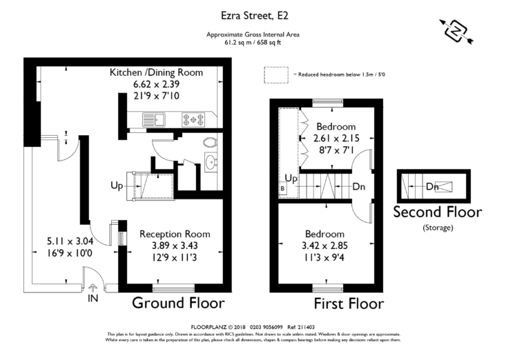 Rooms flow into one another on the ground floor. The compact upstairs has two bedrooms and an overhead storage space.