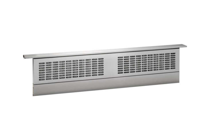 The GE Profile 36-Inch Telescopic Downdraft Hood (UVB36SKSS) has four speeds and a 370 CFM blower; $loading=