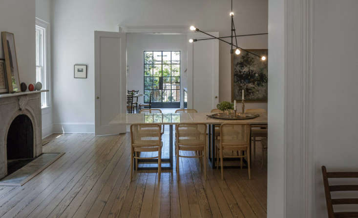 The space is brightened by the kitchen&#8