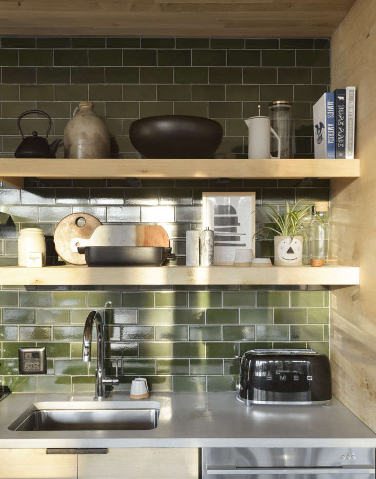 sheena chose finishes and colors that reminded her of the outdoors. the green t 13