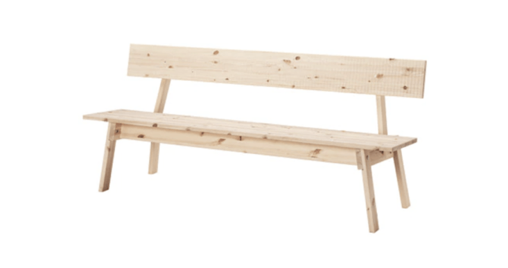 Made of solid pine, the Industrielle Bench is a newer offering with a classic profile; $