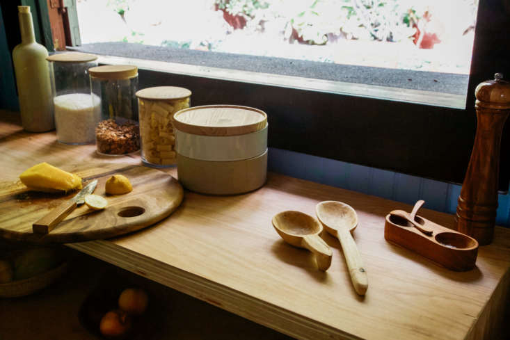 A close-up of the DIY table in the kitchen that Jodi and Alex use as a prep station and for storage.