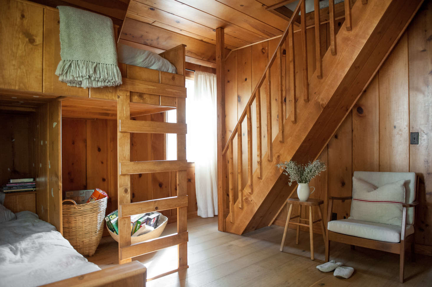 A pull-down ladder to the attic was replaced by wooden stairs.