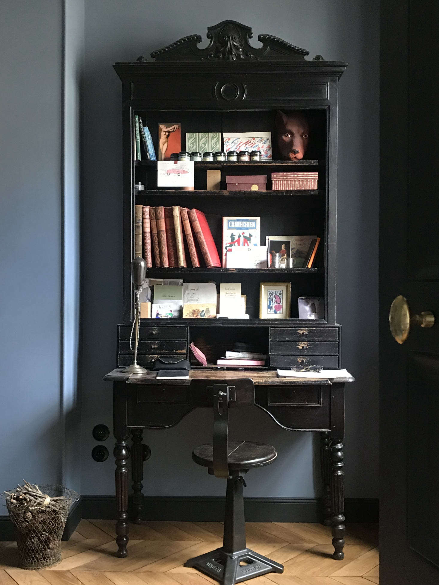 We prefer to get down to business in rooms that have some gravitas—and old things, in our opinion, confer gravitas. Here, a Napoleon III desk pairs beautifully with a Singer chair in designer Marianne Evennou&#8