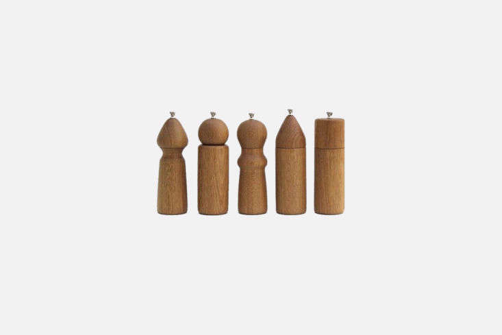 Handmade by De Jong & Co., in LA, these elegantWhite Oak Salt and Pepper Grindersare available in a variety of shapes and sizes; $0 each fromNickey Kehoe.