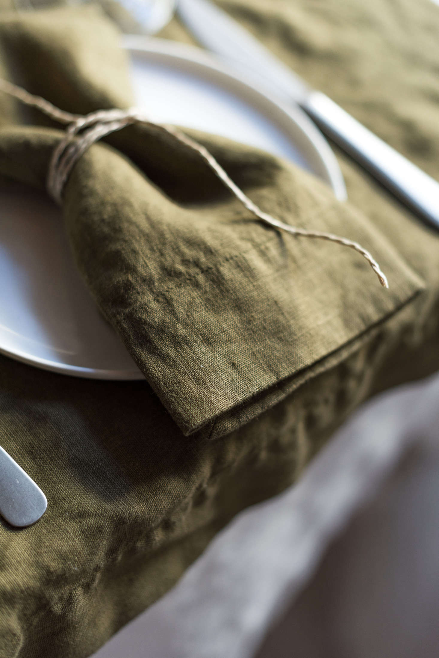 Moss Napkinstied simply with the kind of twine you probably already have in your kitchen drawer.