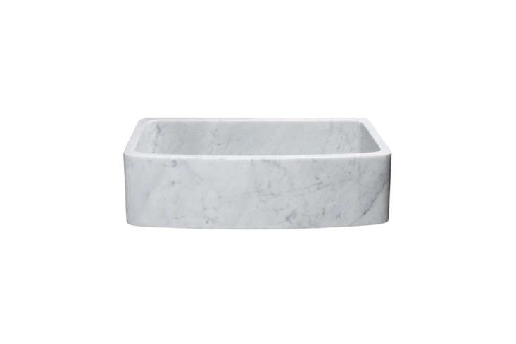From Rustic Sinks, the 36-Inch Single Bowl Curved Front Carrara Marble Farmhouse Sink is $