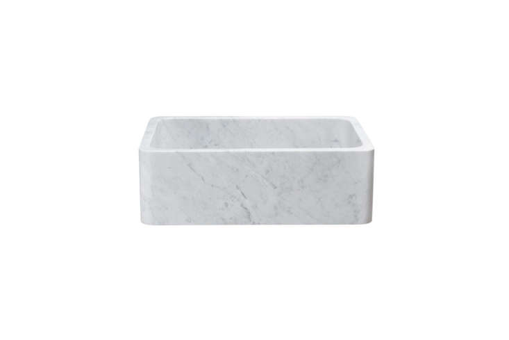 10 Easy Pieces Marble Farmhouse Kitchen Sinks The 30 inch White Carrara Marble Farmhouse Sink is \$\2,090 at Signature Hardware.