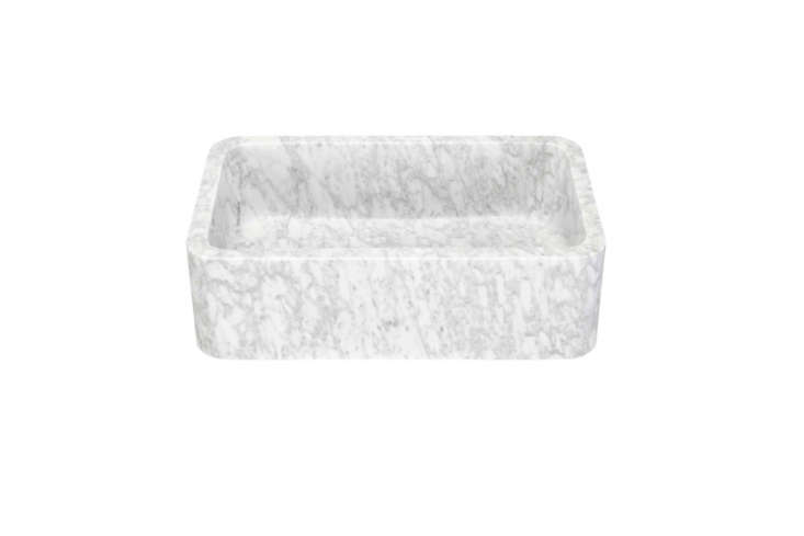 The 30-Inch Polished Marble Farmhouse Sink in Carrara with a loading=