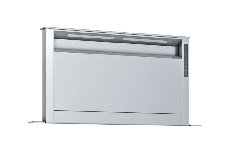 The Thermador Masterpiece Series (UCVP36RS) 36 Inch Downdraft rises to  inches; $