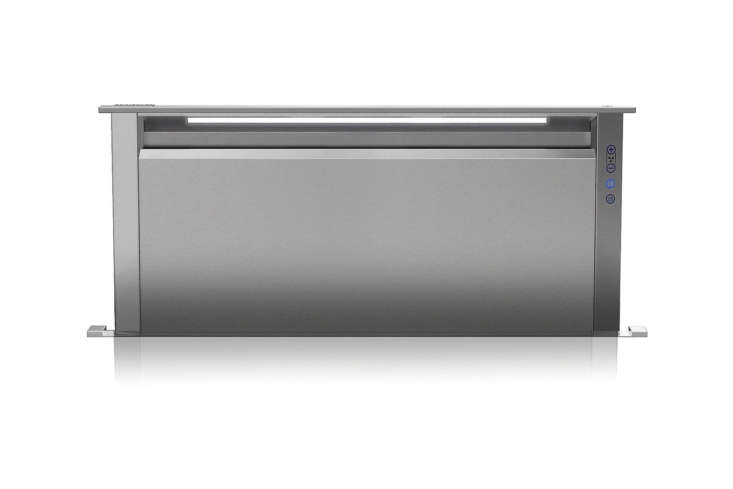 The Viking Professional 5 Series 30-Inch Downdraft Ventilation System (VDD5300SS) rises to  inches high for venting stock pots and other large cooking pans; $loading=