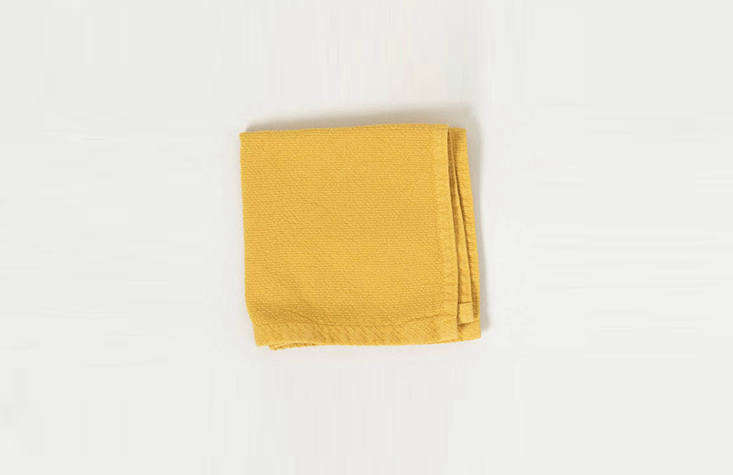Made from stonewashed Turkish cotton, theVintage Face Washer in Saffron features soft terry on one side and exfoliating flax on the other; $ from Cedar and Hyde Mercantile.