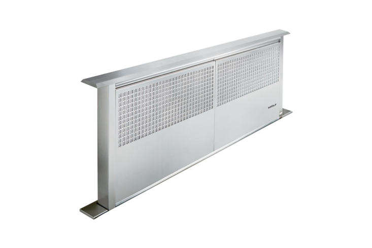 The Wolf 36-Inch Downdraft Ventilation System (DD36) rises  inches high and is available through AJ Madison. Contact for price and ordering information.