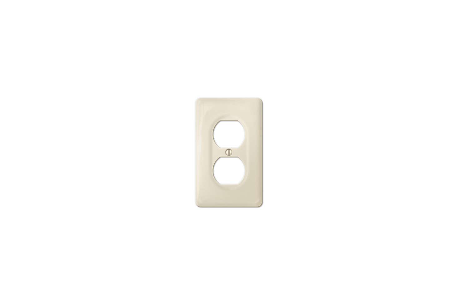 The Amerelle (30DBT) Allena Biscuit Ceramic Duplex Wallplate is $6.67 at Home Depot.