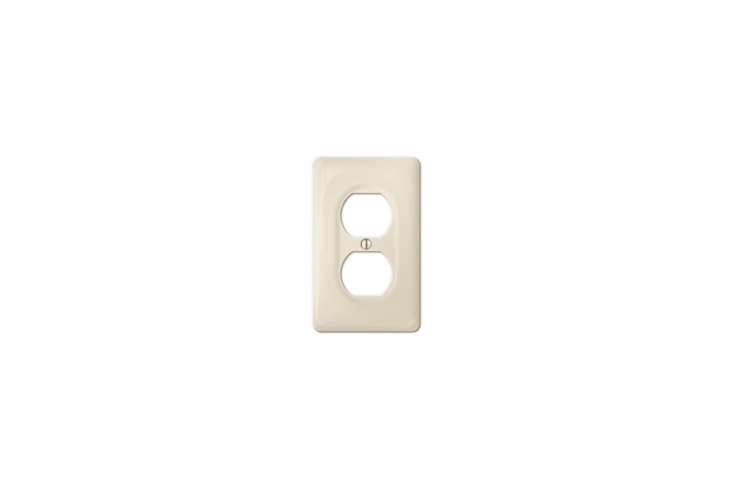 The Amerelle (30DBT) Allena Biscuit Ceramic Duplex Wallplate is $6.67 at Home Depot.