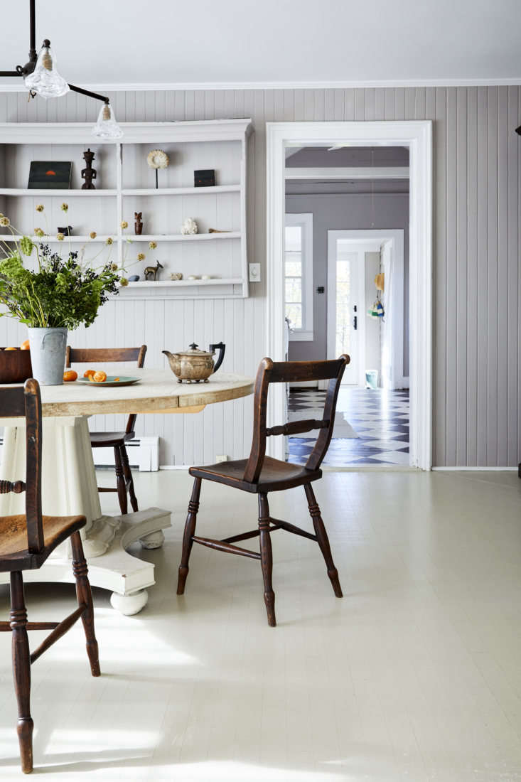 The floors throughout the rest of the house are painted white: &#8