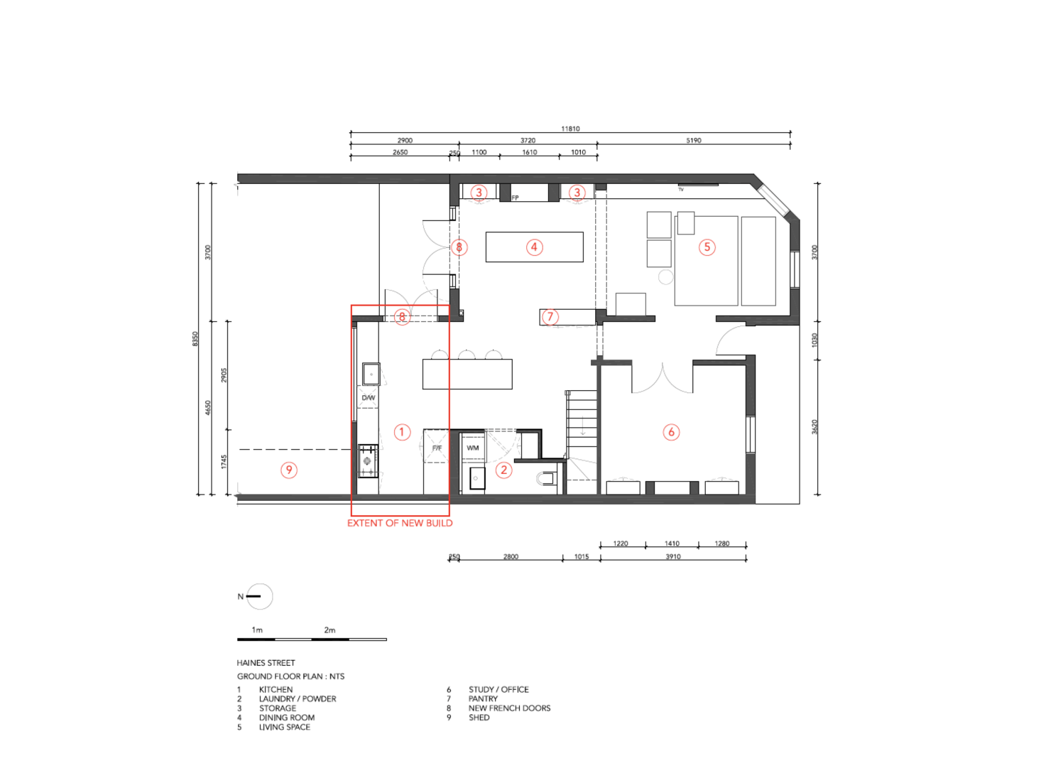 The ground floor plan highlights the kitchen extension.