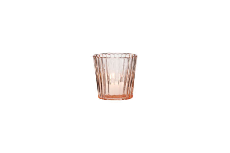 The Caroline Vintage Glass Candle Holder in Pink resembles the vintage Depression Glass tea light holder in the kitchen. This one is $3 at Luna Bazaar.