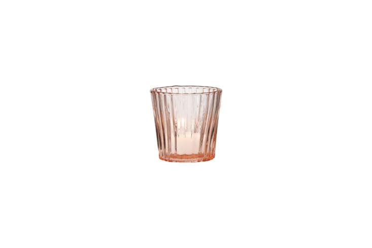 the caroline vintage glass candle holder in pink resembles the vintage depressi 27