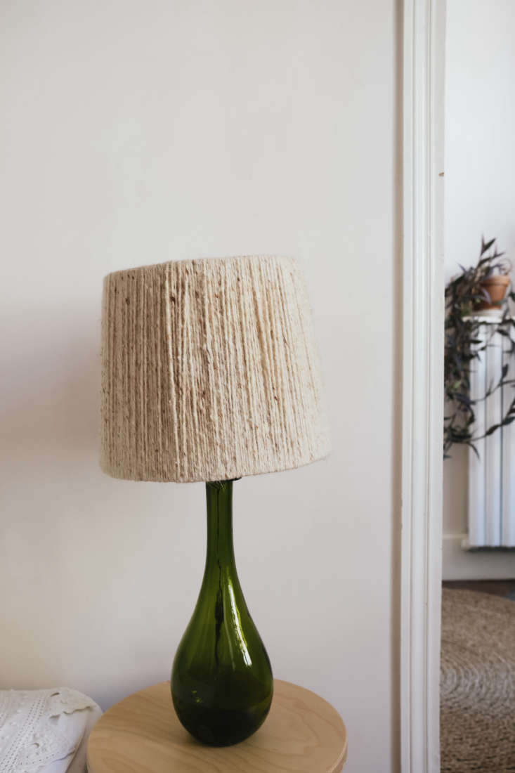 La Vie en Rose Inside a Costumiers Dreamlike DIY Maison in France Green Glass Lamp in Celine Sathal's Remodeled Country House in France, Photo by Eefje de Coninck