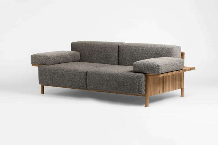From the new sofa company called Common, the Mooner Sofa by Studio David Thulstrup is available in four different upholstery fabrics and made with an oak frame; €3,0 at Common.