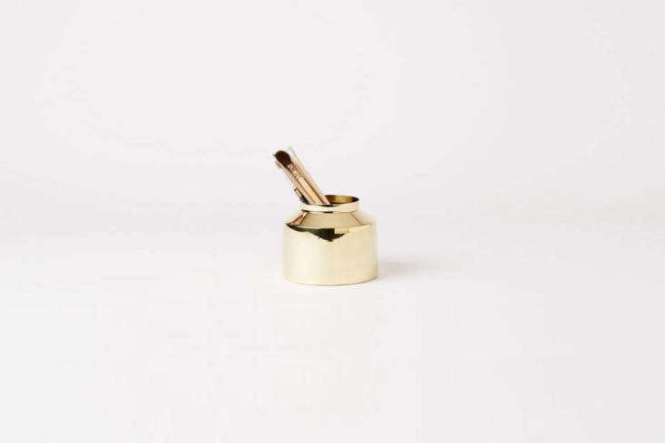 the emma olbers brass pen holder designed for skultuna is \$\145 cad at mjölk. 22