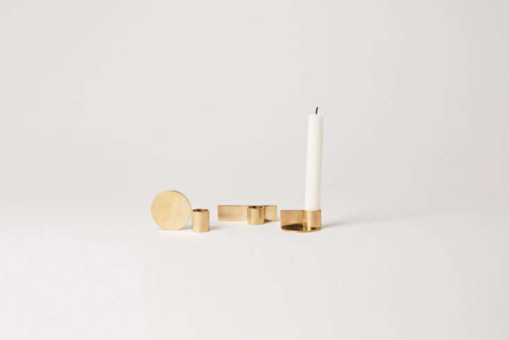 the frama fundament candle holders in brass comes in a set of three, as shown,  23