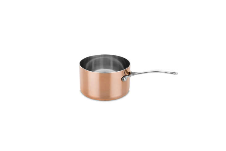 The Luxury Art Copper Saucepan comes in a set with a copper frying pan for €4 at Mepra, the Italian makers of some of our favorite flatware.