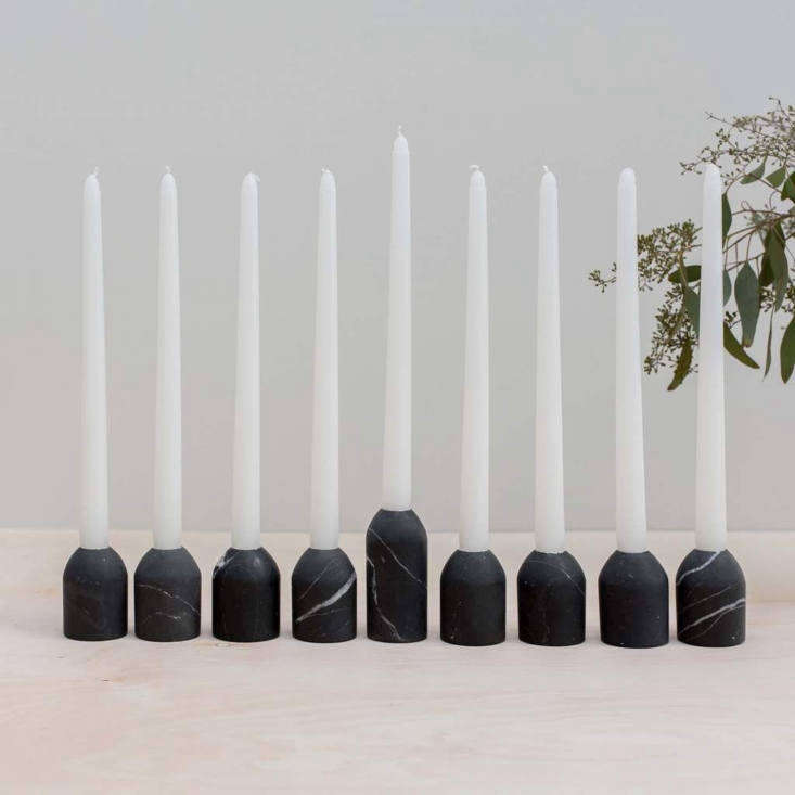 New from The Citizenry: thePuebla Marble Modern Menorah Set, $5, is hand carved in Puebla, Mexico, of matte black marble. Its nine freestanding pieces—eight uniformly sized and one shammash—can be arranged and put to use all sorts of ways.