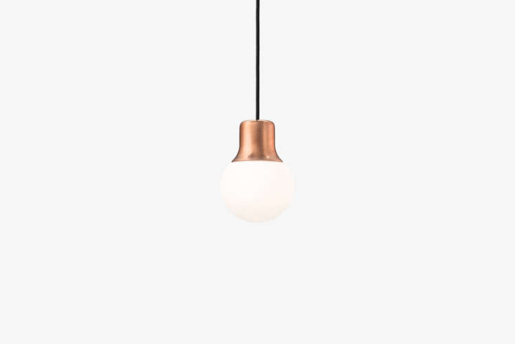 the copper topped pendant lights are norm architects mass pendant light; \$495  14