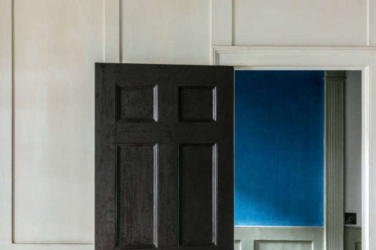 His favorite dash of color in the house: theblue verditer painted onto handmade sheets of paper from Griffen Mill in Ireland. He had been testing out the color for the Strawberry Hill House project but ended up keeping it up in his home.