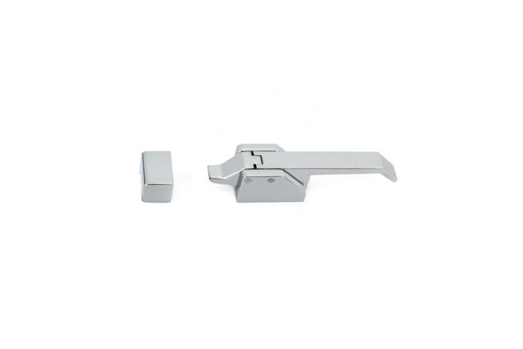 The Richelieu Contemporary Metal Ice Box Latch (8583) in chrome-finished metal ranges in price from $50 to $0. Contact Richelieu to order.
