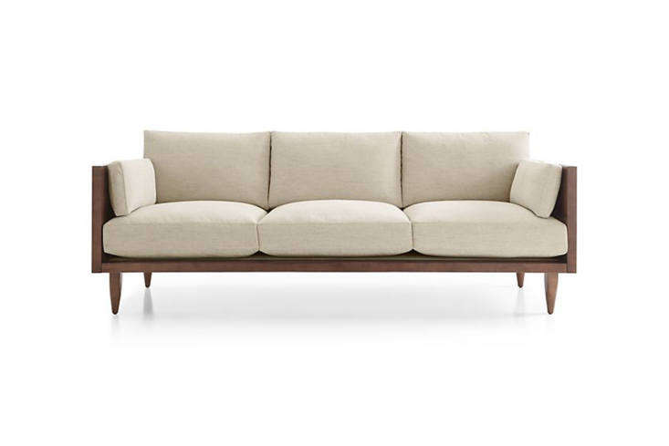 The Sherwood 3-Seat Exposed Wood Frame Sofa is made with a maple frame; $