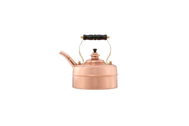 the simplex kensington tea kettle in copper is \$\263.96 at williams sonoma. 23