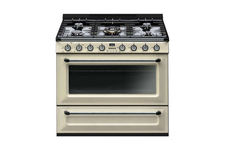 The Smeg Victoria 36-Inch Freestanding Gas Range in Cream Enamel is $3,300 at Perigold.