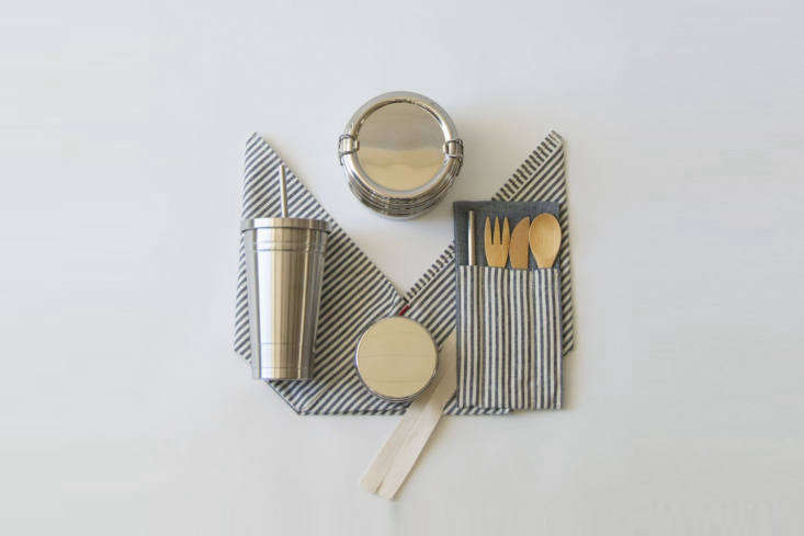 From Wild Minimalist of San Anselmo, CA, the Zero Waste Lunch Kit with Tumblerincludes a three-tier, tiffin-style lunchbox, snack container, and travel cup, all in steel, plus cutlery and a bento bag;$loading=