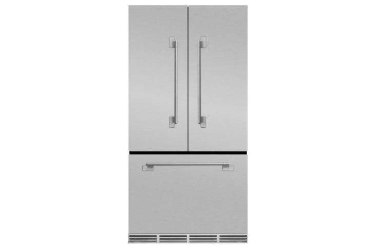 The Aga Elise 36-Inch Counter-Depth French Door Refrigerator (MELFDRSS) comes in Stainless Steel (shown), White, Midnight Sky, Ivory, Matte Black, and Gloss Black and has a depth of  loading=
