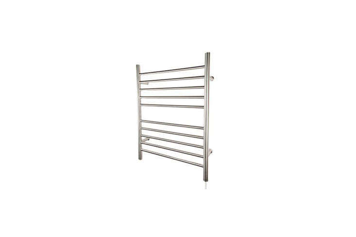 The Amba Radiant Straight Plug-in Towel Warmer in Brushed or Polished Steel is $