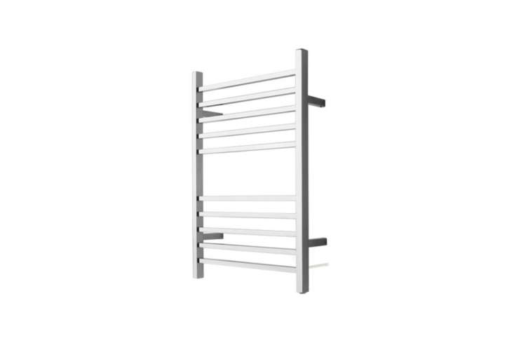 The Amba Radiant Square Plug-in Towel Warmer comes in Brushed Steel and Polished Steel for $